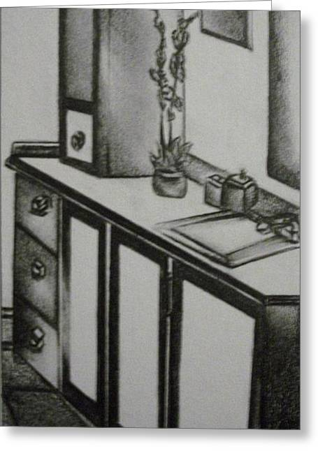 Interior Still Life Drawings Greeting Cards - Architectural Bathroom Rendering Greeting Card by Stacey Abrams