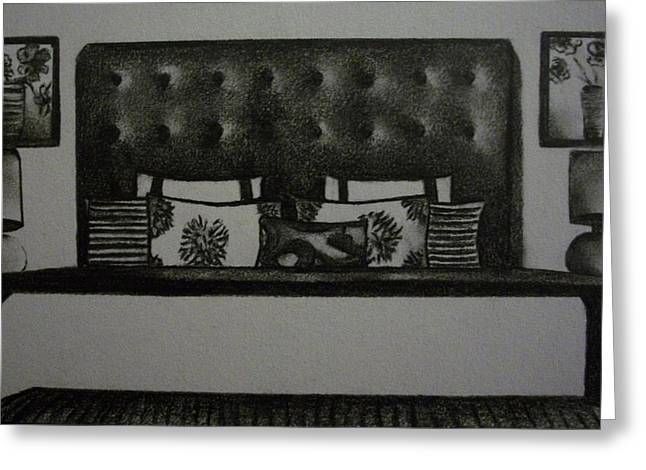 Interior Still Life Drawings Greeting Cards - Architectural Bedroom Rendering Greeting Card by Stacey Abrams