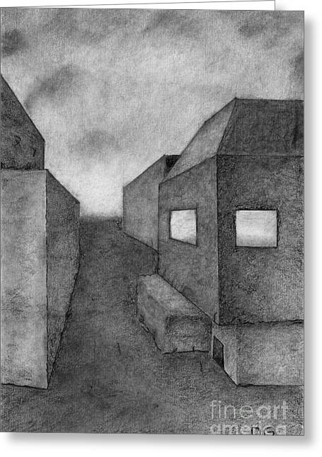 Grayscale Drawings Greeting Cards - Architectural Drawing Greeting Card by David Gordon