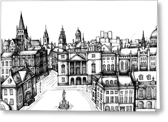 Town Square Drawings Greeting Cards - Architectural Evolution in an Urban Landscape 6 Greeting Card by James Falciano