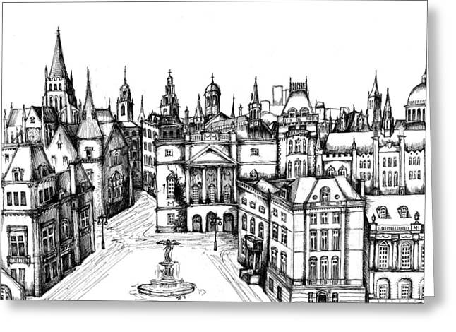 Development Drawings Greeting Cards - Architectural Evolution in an Urban Landscape 7 Greeting Card by James Falciano