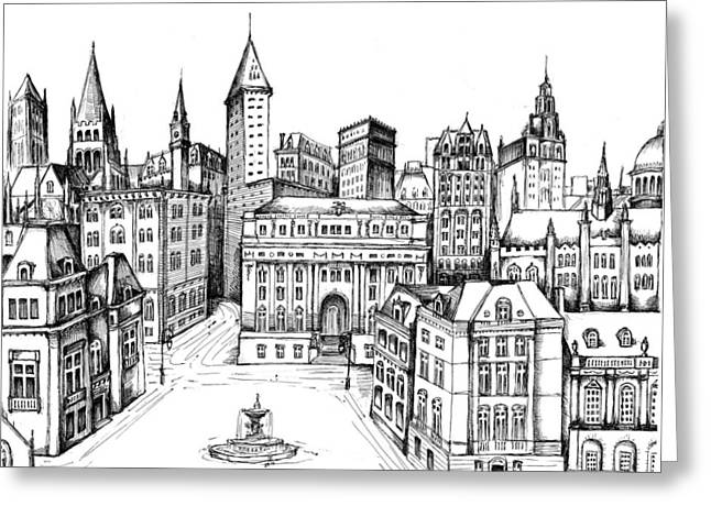 Development Drawings Greeting Cards - Architectural Evolution in an Urban Landscape 8 Greeting Card by James Falciano