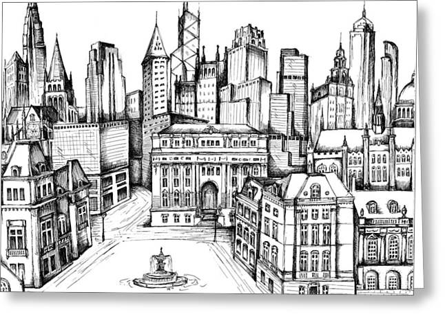 Development Drawings Greeting Cards - Architectural Evolution in an Urban Landscape 9 Greeting Card by James Falciano