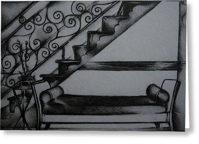 Interior Still Life Drawings Greeting Cards - Architectural Rendering of Furniture Greeting Card by Stacey Abrams