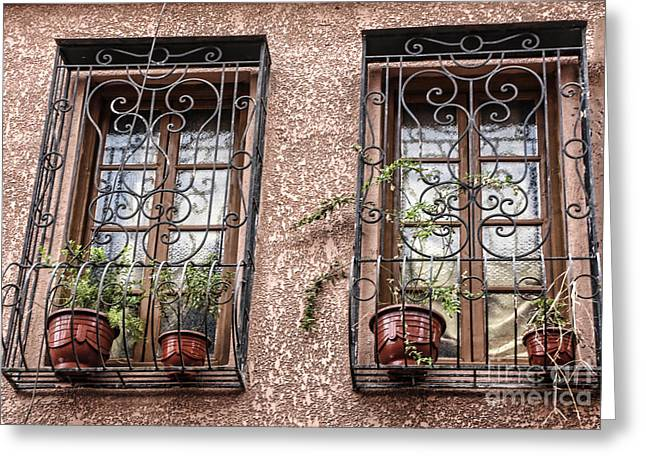 Architecture I Windows Greeting Card by Chuck Kuhn