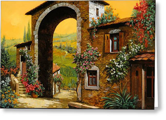 Vineyards Paintings Greeting Cards - Arco Di Paese Greeting Card by Guido Borelli