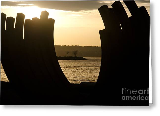 Arcs Sunset Bernar Venet Sculpture Sunset Beach Park Vancouver Bc Canada Greeting Card by Andy Smy