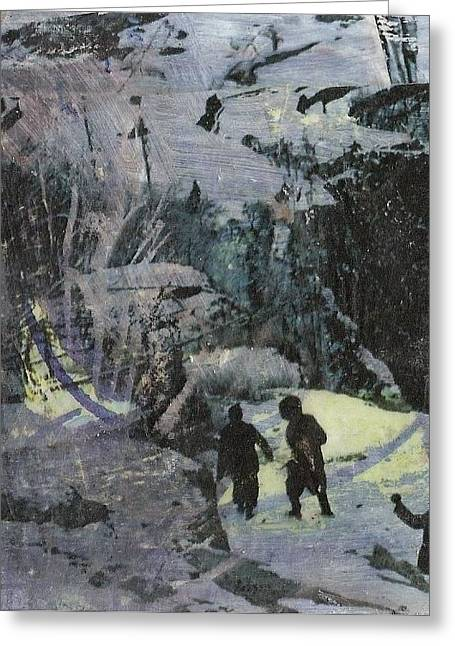 Conditions Mixed Media Greeting Cards - Arctic Conditions Greeting Card by Fiona Finlay