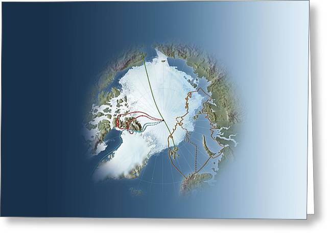 Nansen Greeting Cards - Arctic Exploration, Route Maps Greeting Card by Mikkel Juul Jensen