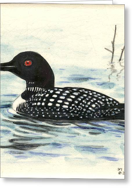 Ceramic Ceramics Greeting Cards - Arctic loon Greeting Card by Dy Witt