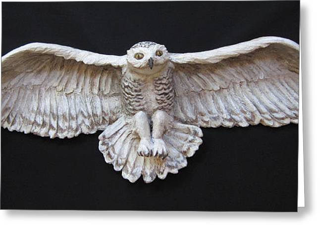 D Sculptures Greeting Cards - Arctic Owl-SOLD Greeting Card by Janet Knocke