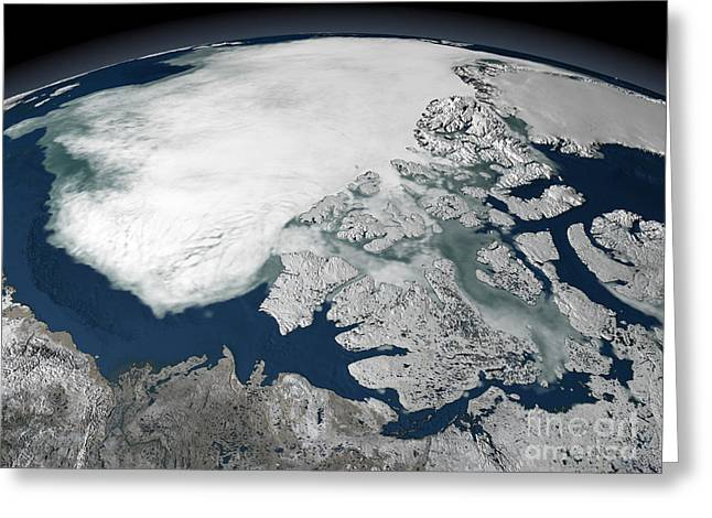 Arctic Circle Greeting Cards - Arctic Sea Ice Above North America Greeting Card by Stocktrek Images