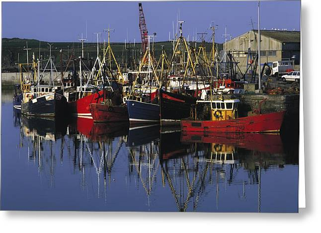 Boats In Reflecting Water Photographs Greeting Cards - Ardglass, Co Down, Ireland Fishing Greeting Card by The Irish Image Collection