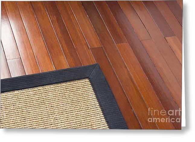 """""""hardwood Floor"""" Greeting Cards - Area Rug on Wood Floor Greeting Card by Shannon Fagan"""