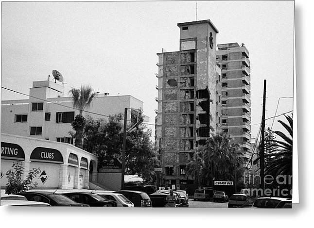 Ammochostos Greeting Cards - Area Surrounding Varosha Forbidden Zone With Salaminia Tower Hotel Abandoned In 1974 Greeting Card by Joe Fox