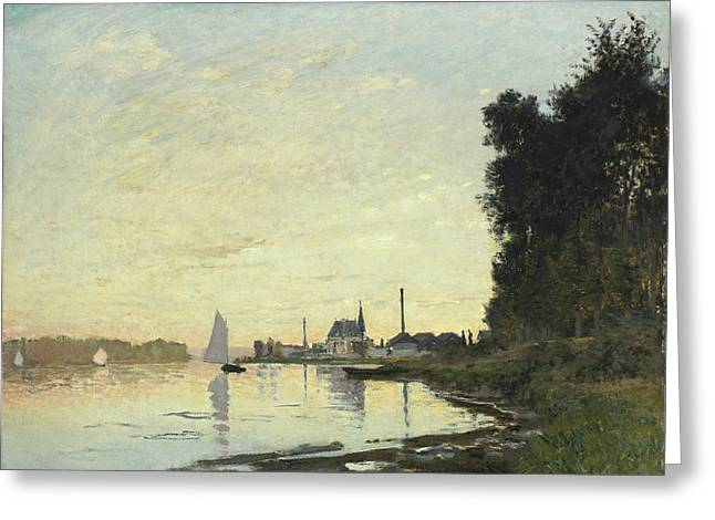 Sailboats Docked Greeting Cards - Argenteuil in Late Afternoon Greeting Card by Claude Monet