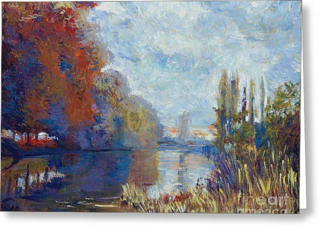 River. Clouds Greeting Cards - Argenteuil on the Seine - Sur les traces de Monet Greeting Card by David Lloyd Glover