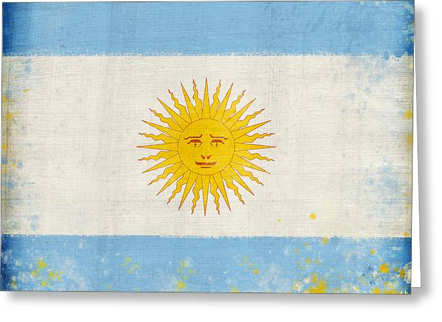 Wall Pastels Greeting Cards - Argentina flag Greeting Card by Setsiri Silapasuwanchai
