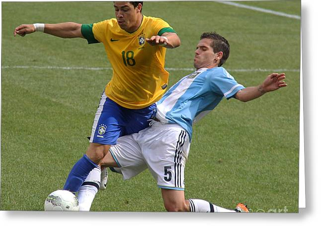 Clash Of Worlds Greeting Cards - Argentina vs Brazil Battle II Greeting Card by Lee Dos Santos