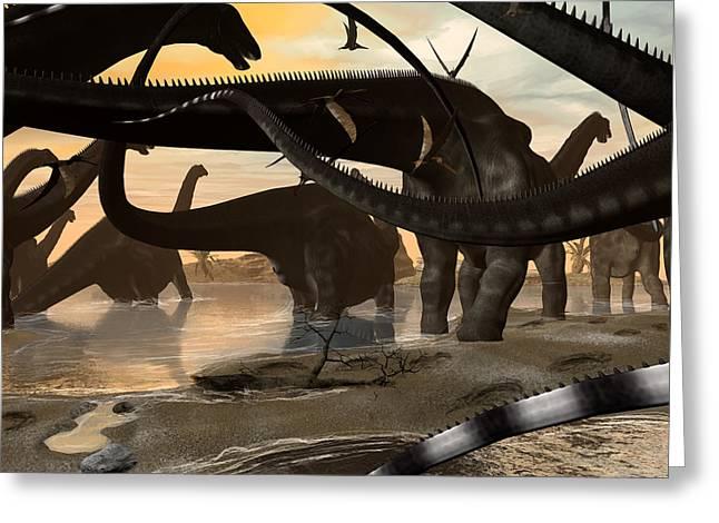 Brontosaurus Greeting Cards - Argentinosaurus Migration Greeting Card by Kurt Miller