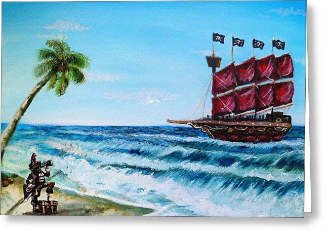 Buccaneer Paintings Greeting Cards - Argh bout time Mateys Greeting Card by Shana Rowe