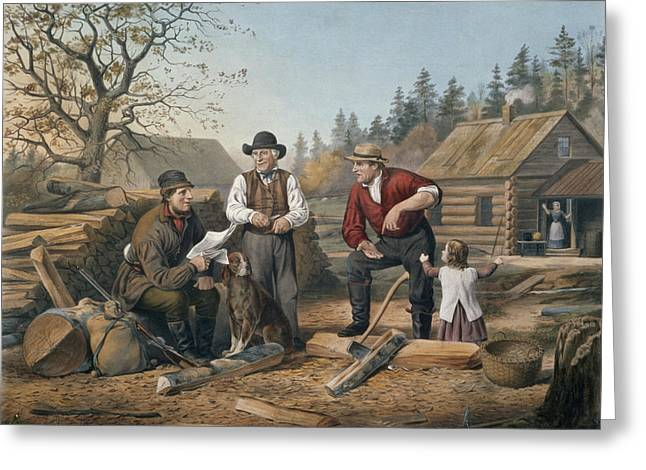 Nathaniel Greeting Cards - Arguing the Point Greeting Card by Currier and Ives