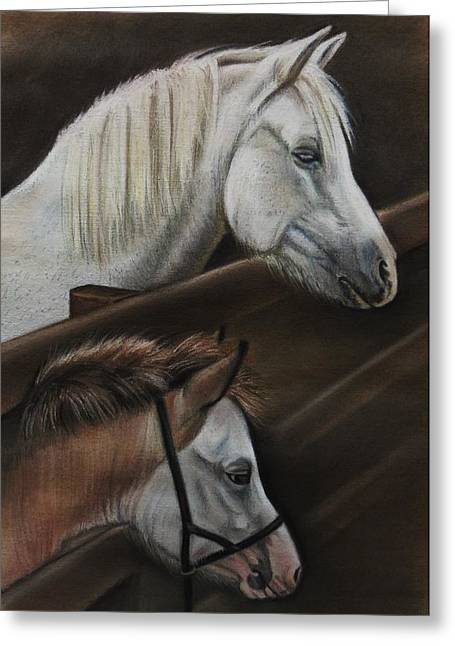 Pablo Pastels Greeting Cards - Arian and Lily Greeting Card by Lucy Deane