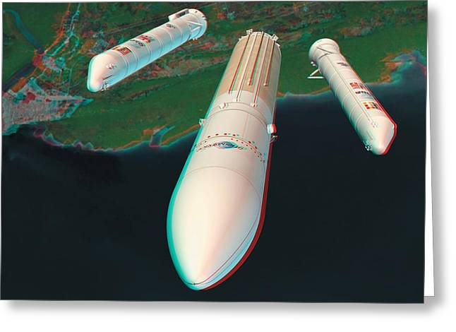 Rocket Boosters Greeting Cards - Ariane 5 Rocket Launch, Stereo Image Greeting Card by David Ducros