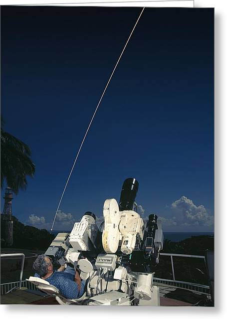 Tracker Greeting Cards - Ariane Launch Photographic Tracking Greeting Card by David Parker