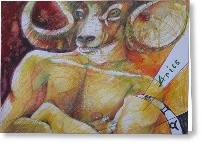 ARIES Greeting Card by Brigitte Hintner