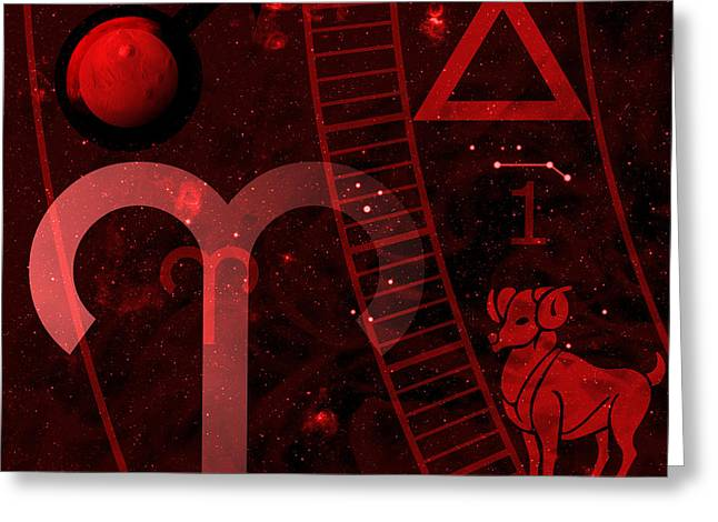 Constellations Digital Art Greeting Cards - Aries Greeting Card by JP Rhea