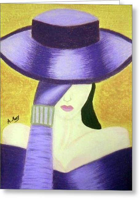 Glove Pastels Greeting Cards - Aristocratic Lady 2 Greeting Card by Eman Allam