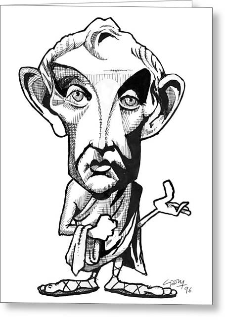 Aristotle Greeting Cards - Aristotle, Caricature Greeting Card by Gary Brown