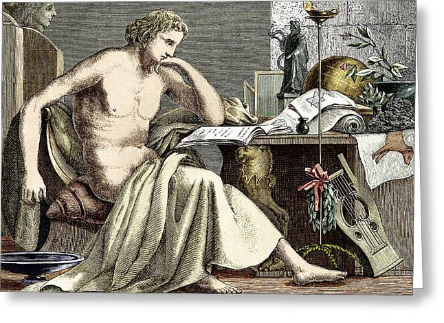 Aristotle Greeting Cards - Aristotle Studying In His Youth Greeting Card by Sheila Terry
