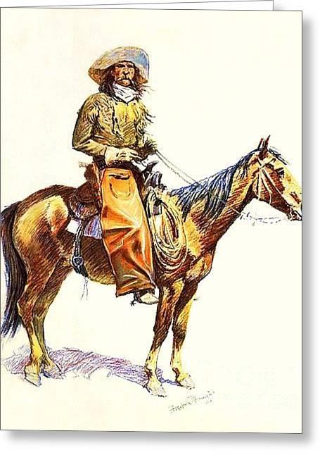 Remington Drawings Greeting Cards - Arizona Cowboy Greeting Card by Reproduction