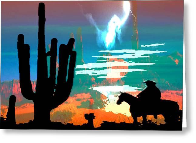 Arizona Lightning Digital Art Greeting Cards - Arizona Skies Greeting Card by Ken Walker