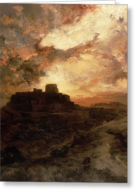 Dark Skies Paintings Greeting Cards - Arizona Sunset Greeting Card by Thomas Moran