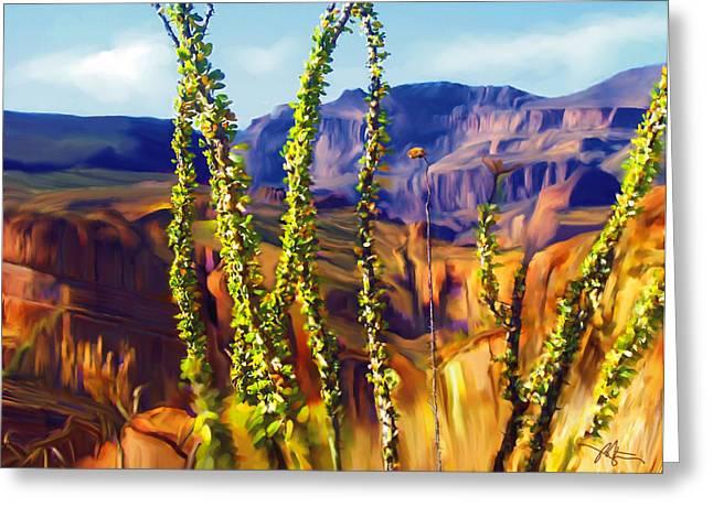 Mountains Mixed Media Greeting Cards - Arizona Superstition Mountains Greeting Card by Bob Salo