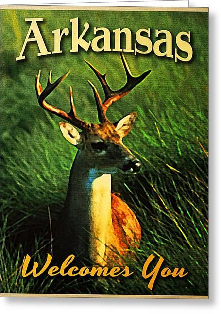 Arkansas Greeting Cards - Arkansas White Tailed Deer Greeting Card by Flo Karp