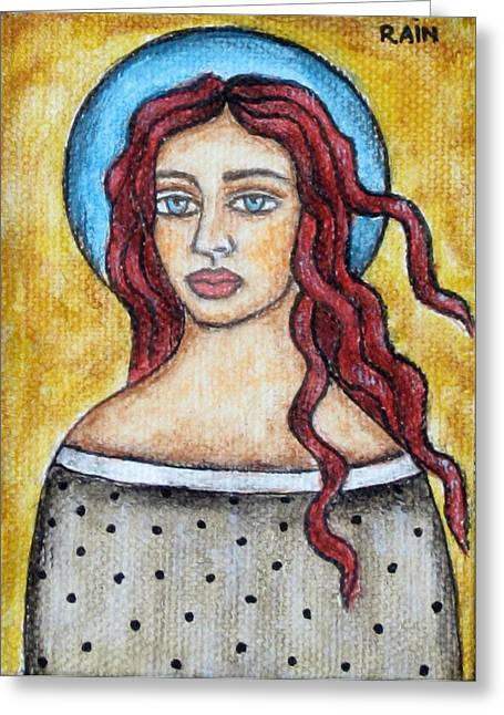 Religious Art Paintings Greeting Cards - Arlene Greeting Card by Rain Ririn