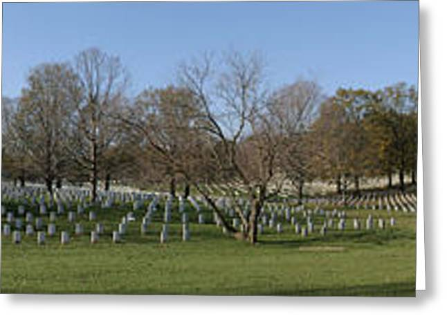 Dead Greeting Cards - Arlington National Cemetery Panorama 1 Greeting Card by Metro DC Photography