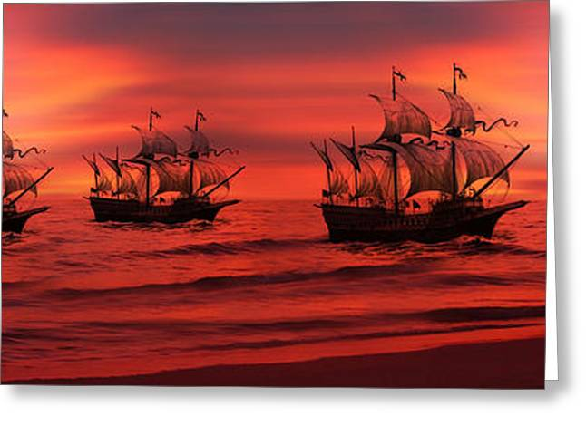 Tall Ships Greeting Cards - Armada Greeting Card by Lourry Legarde