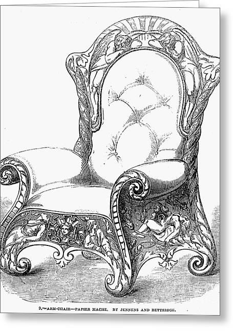 Paper Mache Greeting Cards - Armchair, 1851 Greeting Card by Granger