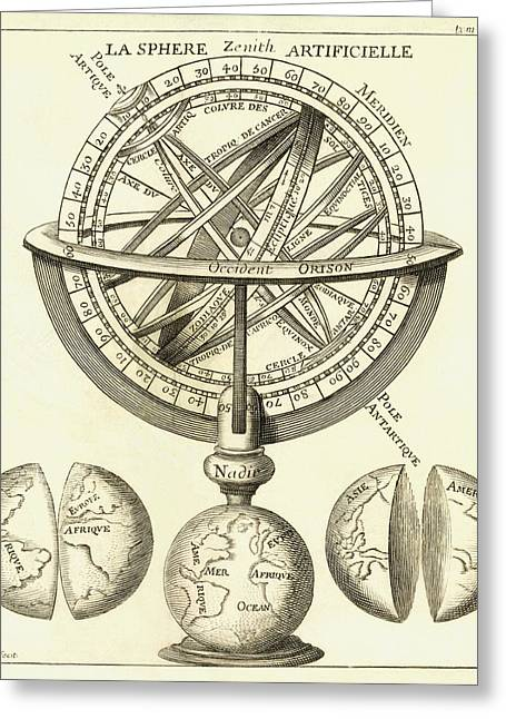 French Language Greeting Cards - Armillary Sphere, 18th Century Artwork Greeting Card by Detlev Van Ravenswaay