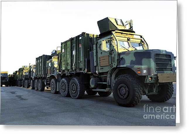 Humanitarian Greeting Cards - Armored Trucks Sit On The Pier Greeting Card by Stocktrek Images