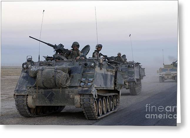 Iraq Greeting Cards - Armored Vehicles Leaving Samarra, Iraq Greeting Card by Stocktrek Images
