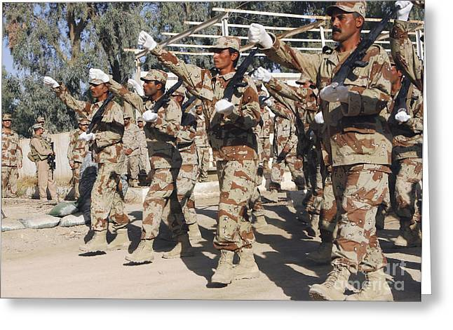 Iraqi Military Greeting Cards - Arms Swing In Unison As The Iraqi Army Greeting Card by Stocktrek Images