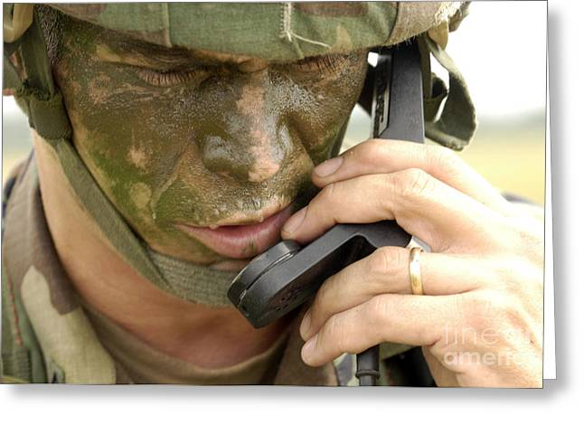 Field Telephone Greeting Cards - Army Master Sergeant Communicates Greeting Card by Stocktrek Images
