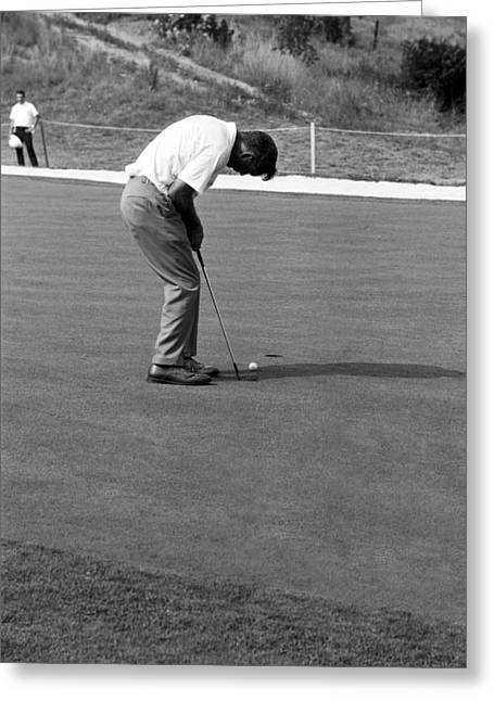 Arnold Palmer Greeting Cards - Arnie Putts at 1964 US Open at Congressional Country Club Greeting Card by Jan Faul