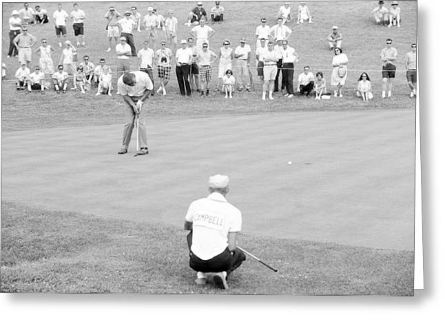 Arnold Palmer Greeting Cards - Arnie Putts the 13th at 1964 US Open at Congressional Country Club Greeting Card by Jan Faul